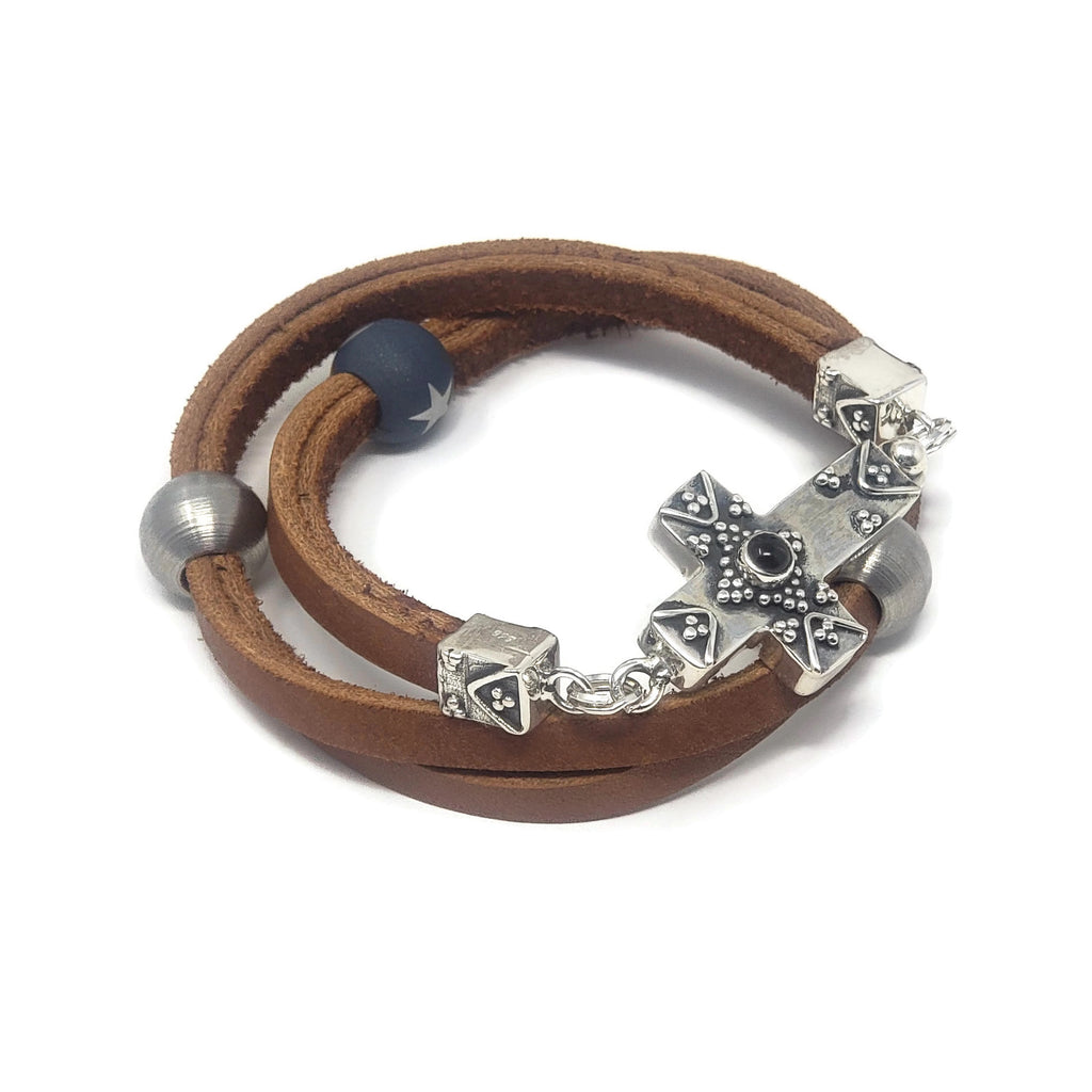 True Grit Leather Wrap Cross Clasp Bracelet