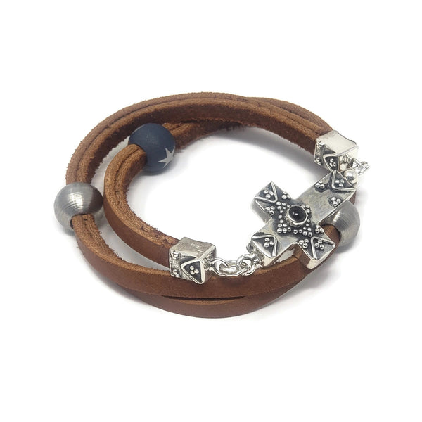 Leather Wrap Cross Clasp Bracelet