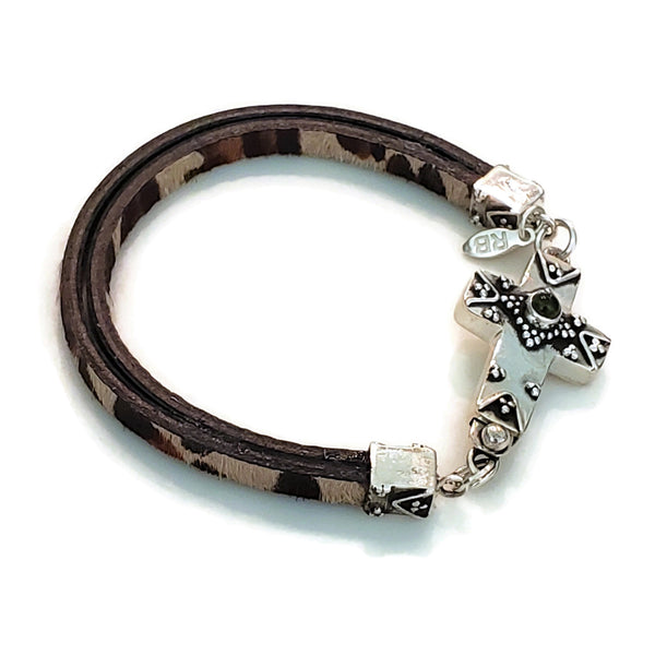 Silver Cross Clasp Leopard Leather Bracelet