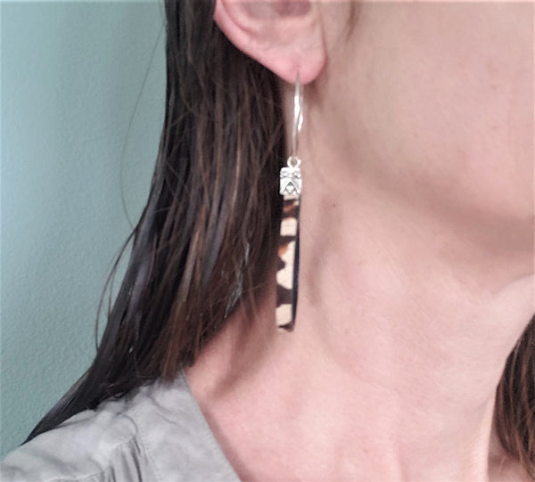 Leopard Print Leather Sterling Silver Hoop Earrings
