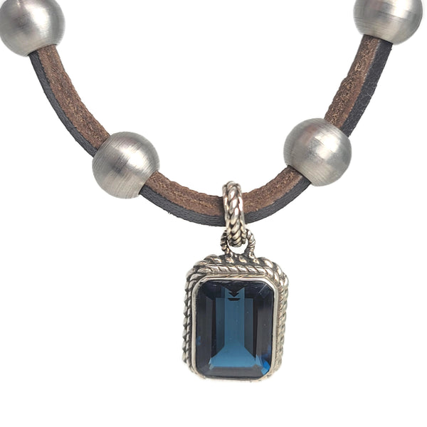 London Blue Topaz Pendant Stainless Steel & Leather Necklace