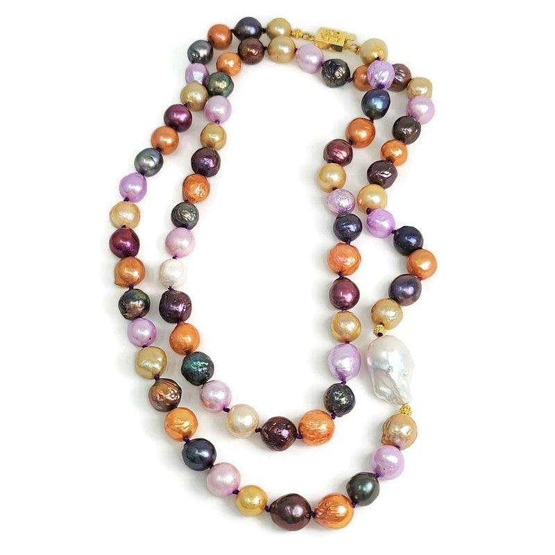 Long Multi-Colored Pearl Necklace