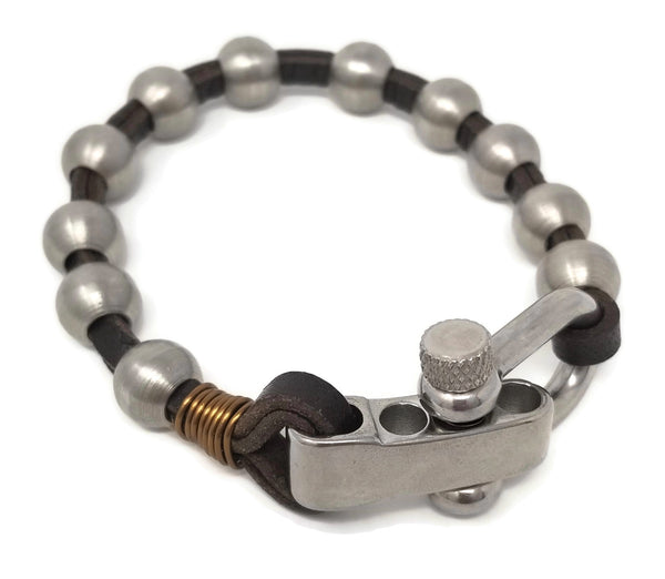Men's Steel & Leather Bracelet
