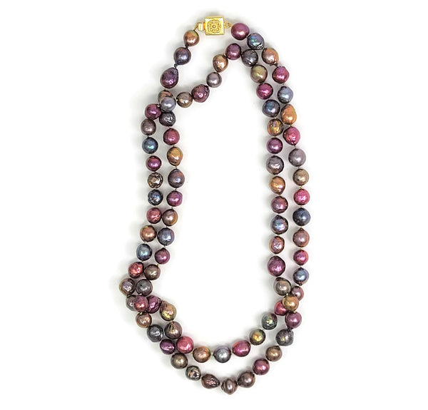 Multi-Colored Long Pearl Necklace