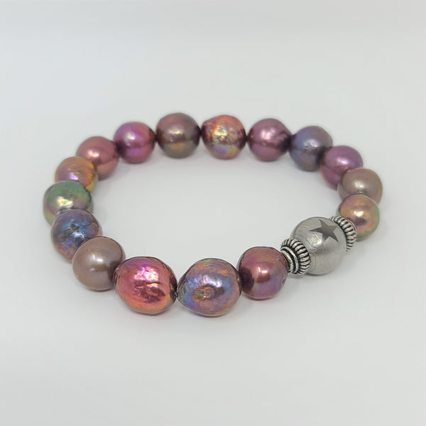 Metallic Peacock Edison Pearl Stretch Bracelet
