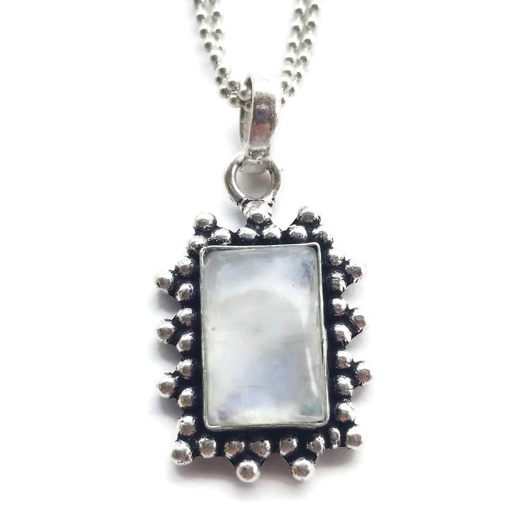 Moonstone Pendant Ball Chain Necklace