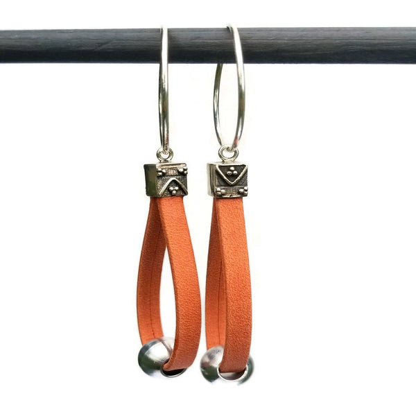 Orange Leather Sterling Silver Hoop Earrings
