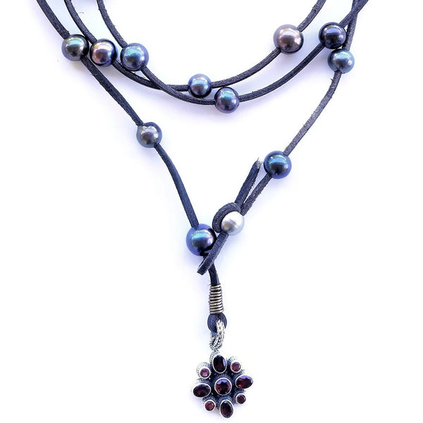 Garnet and Black Pearl Leather Wrap Necklace