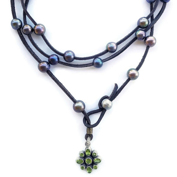 Peridot and Black Pearl Leather Wrap Necklace