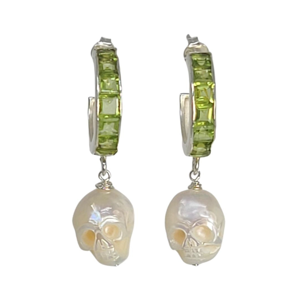 Peridot Carved Skull Pearl Hoop Earrings