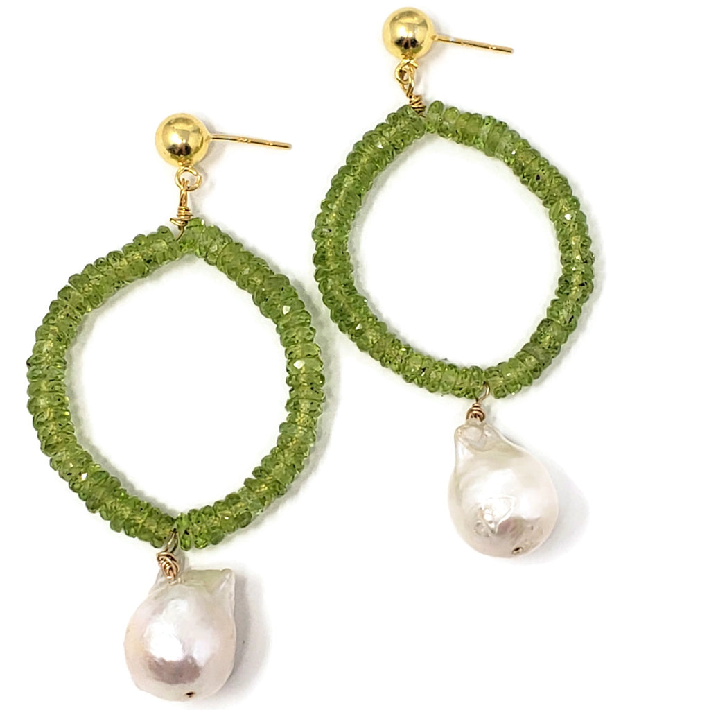 Peridot & Baroque Pearl Earrings