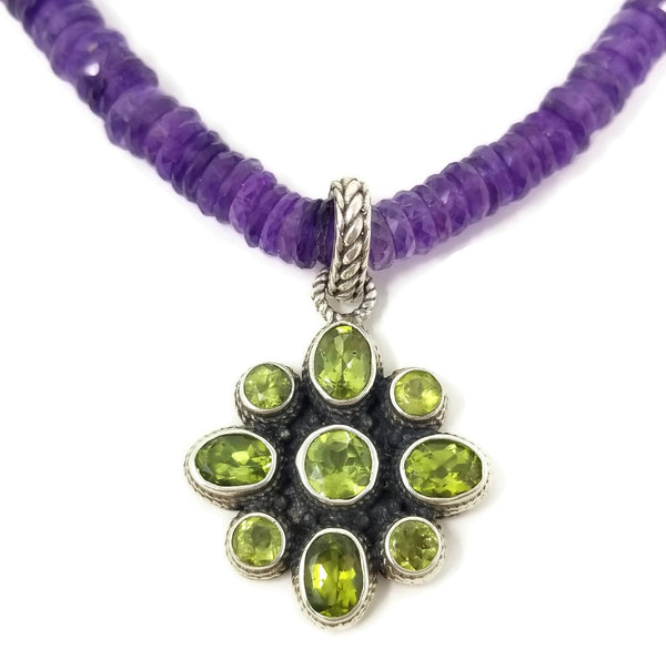 Amethyst and Peridot Pendant Necklace