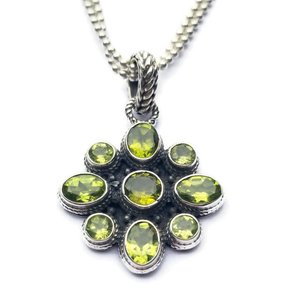 Green Peridot Pendant Ball Chain Necklace