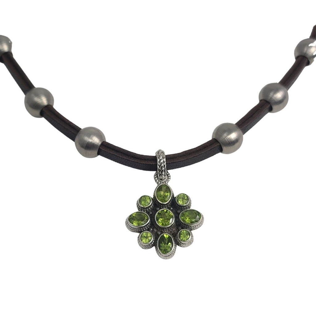 Peridot Flower Pendant Stainless Steel & Leather Necklace