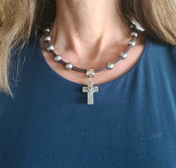 Silver Cross Pendant Stainless Steel & Leather Necklace
