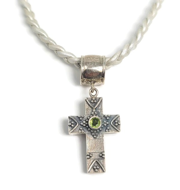 Silver Cross Pendant Braided Leather Neckalce