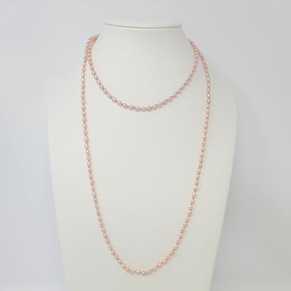 Knotted Tiny Rice Pearl Long Strand Necklace