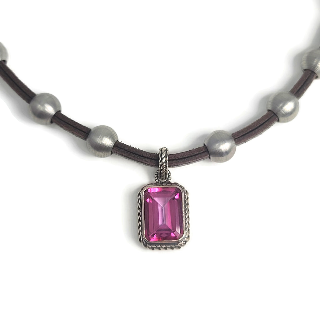 Pink Topaz Pendant Stainless Steel & Leather Necklace