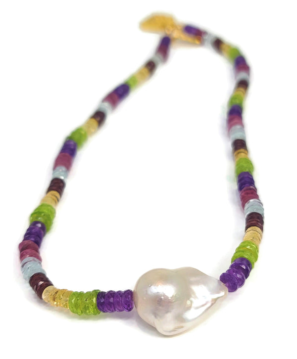 Rainbow Gemstone Baroque Pearl Necklace