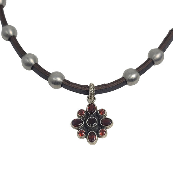 Garnet Flower Pendant Stainless Steel & Leather Necklace