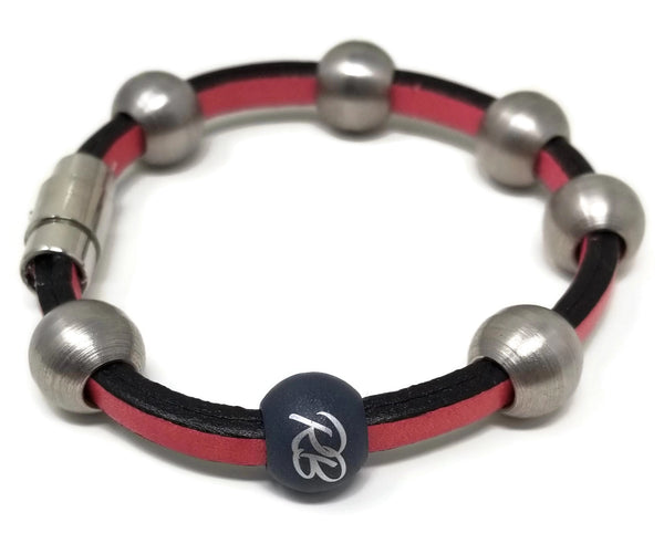 Red Leather & Steel Bead Bracelet