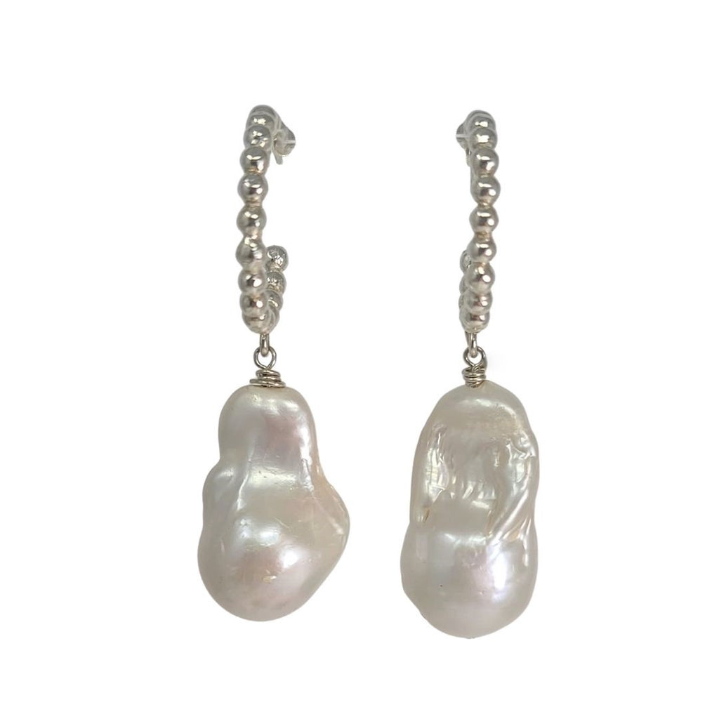 Baroque Pearl Ball Hoop Earrings