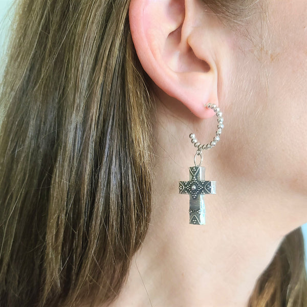 True Grit Silver Hoop Cross Earrings