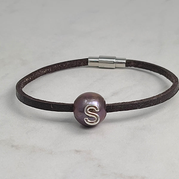 Initial Black Pearl & Leather Bracelet
