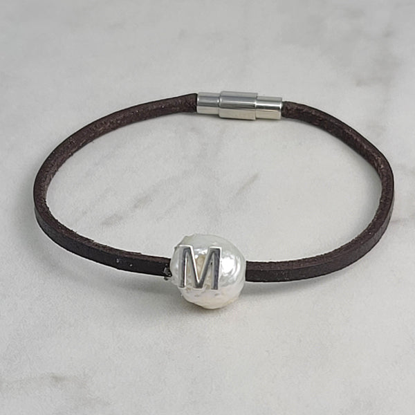 Initial White Edison Pearl & Leather Bracelet