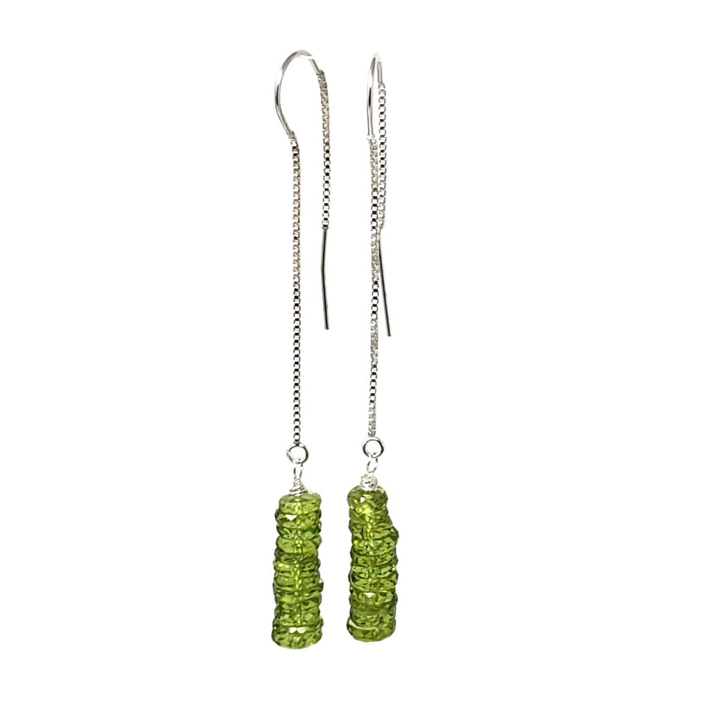 Green Peridot Gemstone Threader Earrings