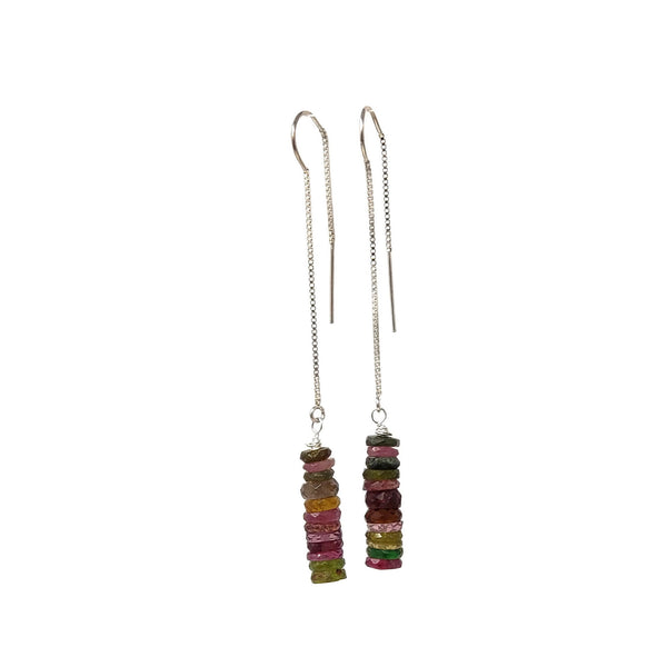 Watermelon Tourmaline Threader Earrings