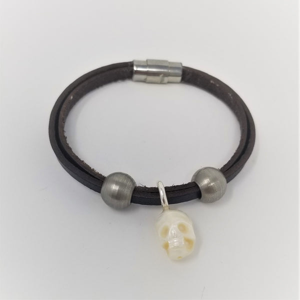 Skull Pearl Charm Leather & Steel Bead Bracelet