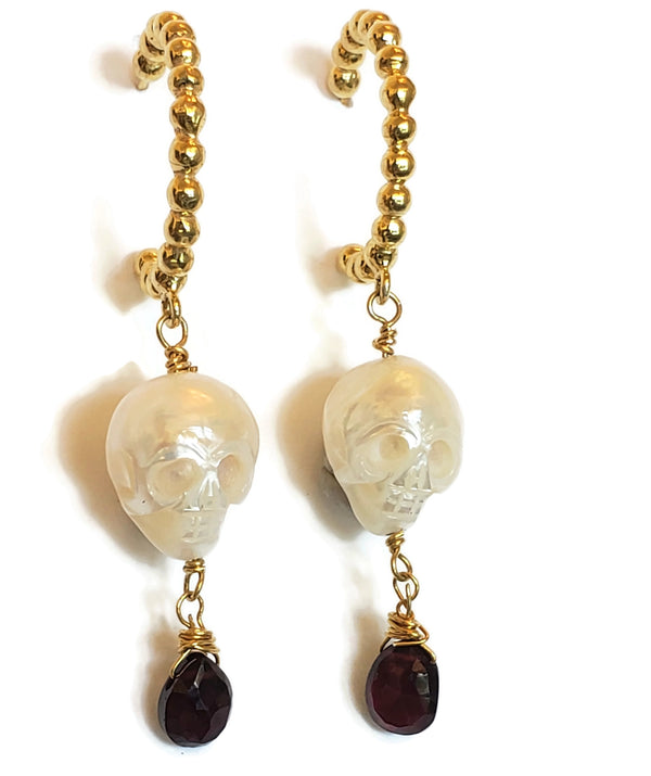 Carved Skull Pearl Drop Hoop Earrings