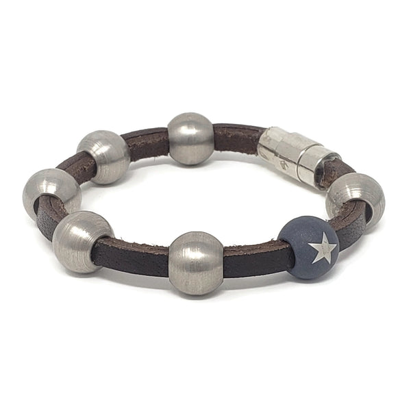 Steel Bead Bracelet & Leather Bracelet