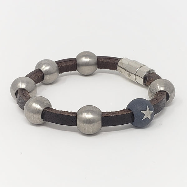 Brown Leather & Steel Bead Bracelet