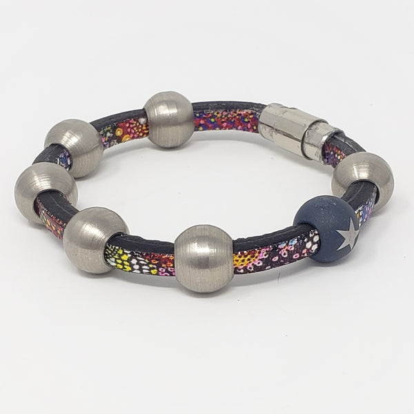Euro Leather & Steel Bead Bracelet