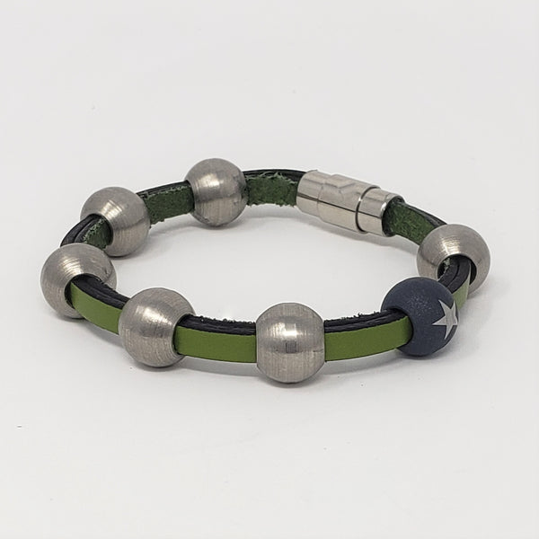 Green Leather & Steel Bead Bracelet