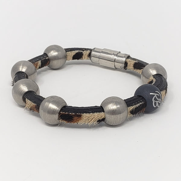 Leopard Leather & Steel Bracelet