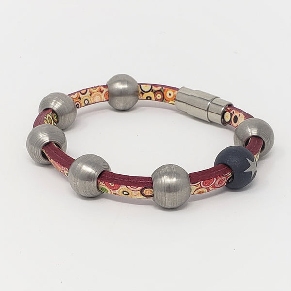 Polka Dot Leather & Steel Bead Bracelet