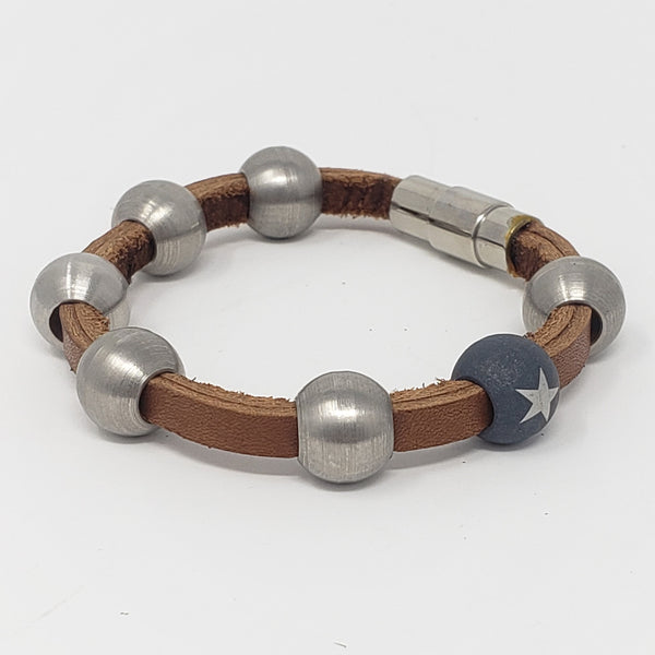 Tan Leather & Steel Bead Bracelet