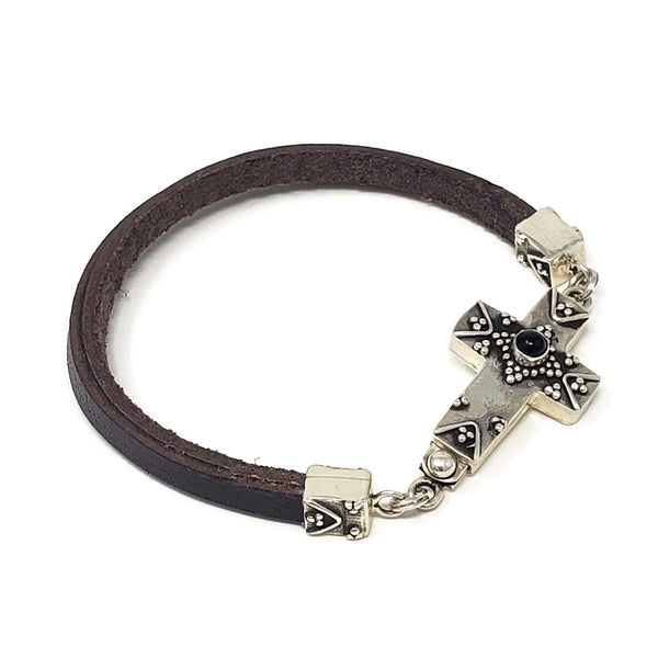 Silver Cross Clasp Leather Bracelet
