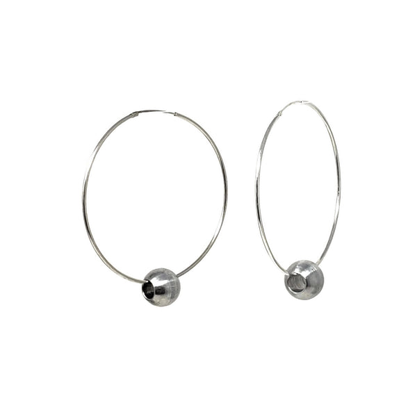 RB Ball Sterling Silver Hoop Earrings