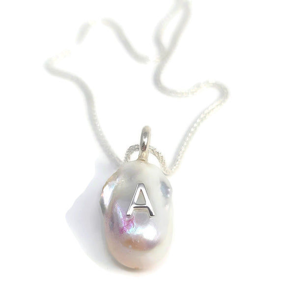 White Baroque Pearl Initial Pendant Necklace