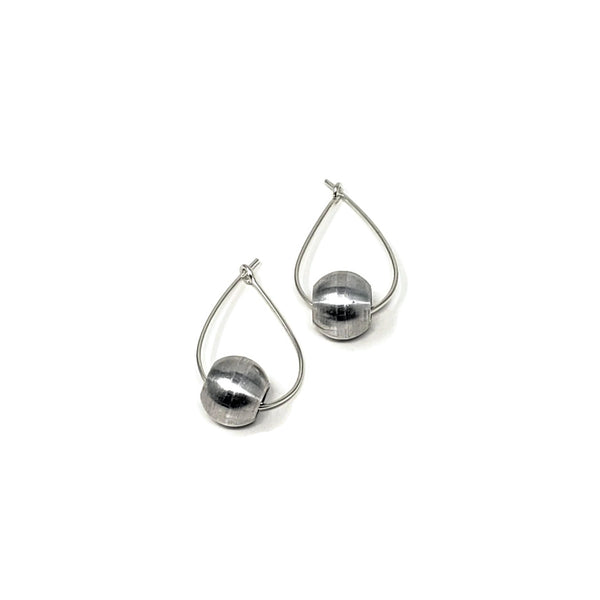 RB Ball Tear Drop Silver Hoop Earrings