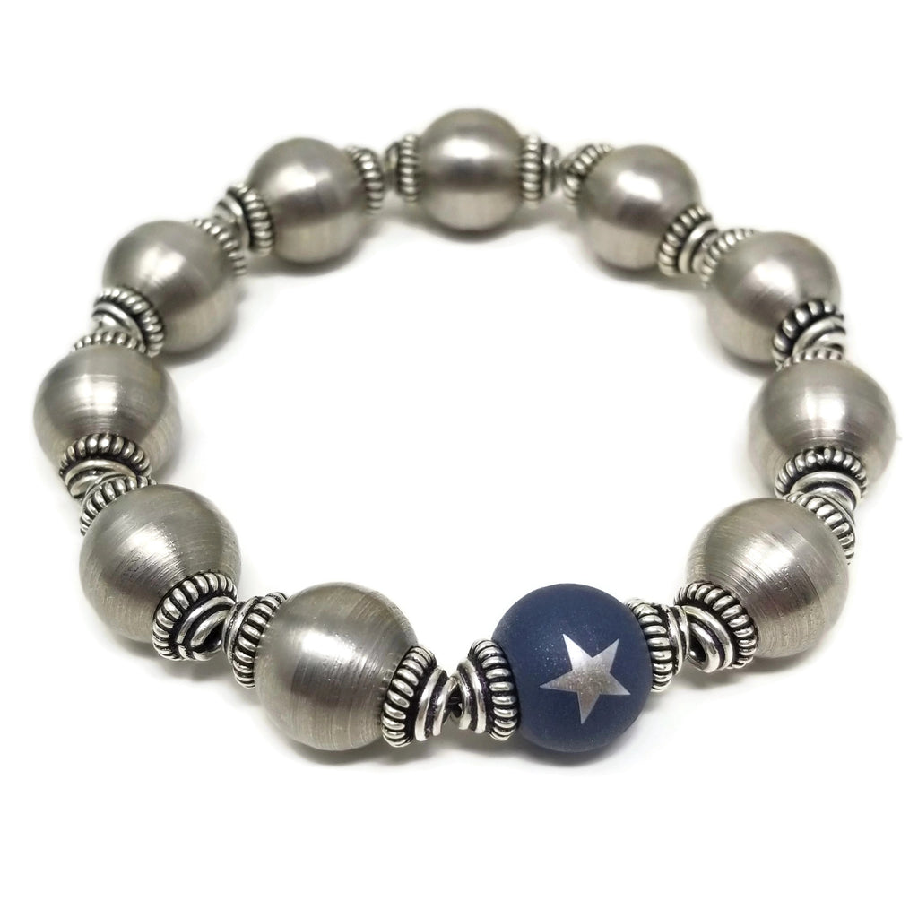 RB Steel & Silver Stretch Beaded Bracelet