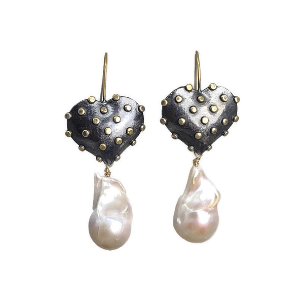 True Grit Gold Heart Pearl Drop Earrings