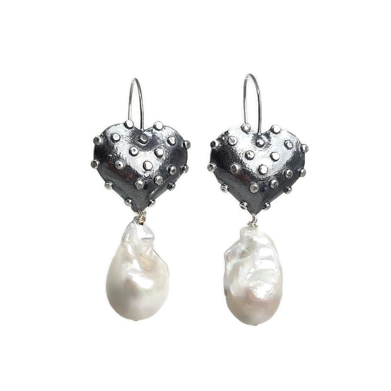 True Grit Silver Heart Pearl Drop Earrings