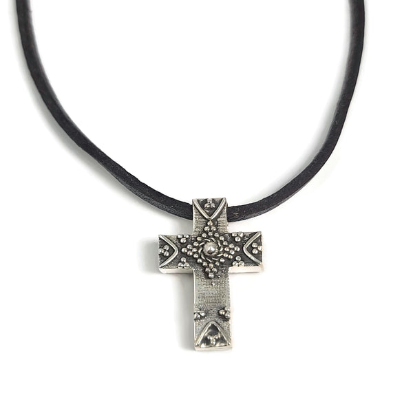 Double Sided Cross Pendant Leather Neckalce