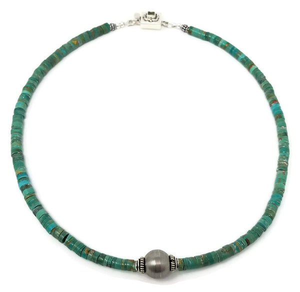 Green Turquoise Faceted Gemstone Choker Necklace