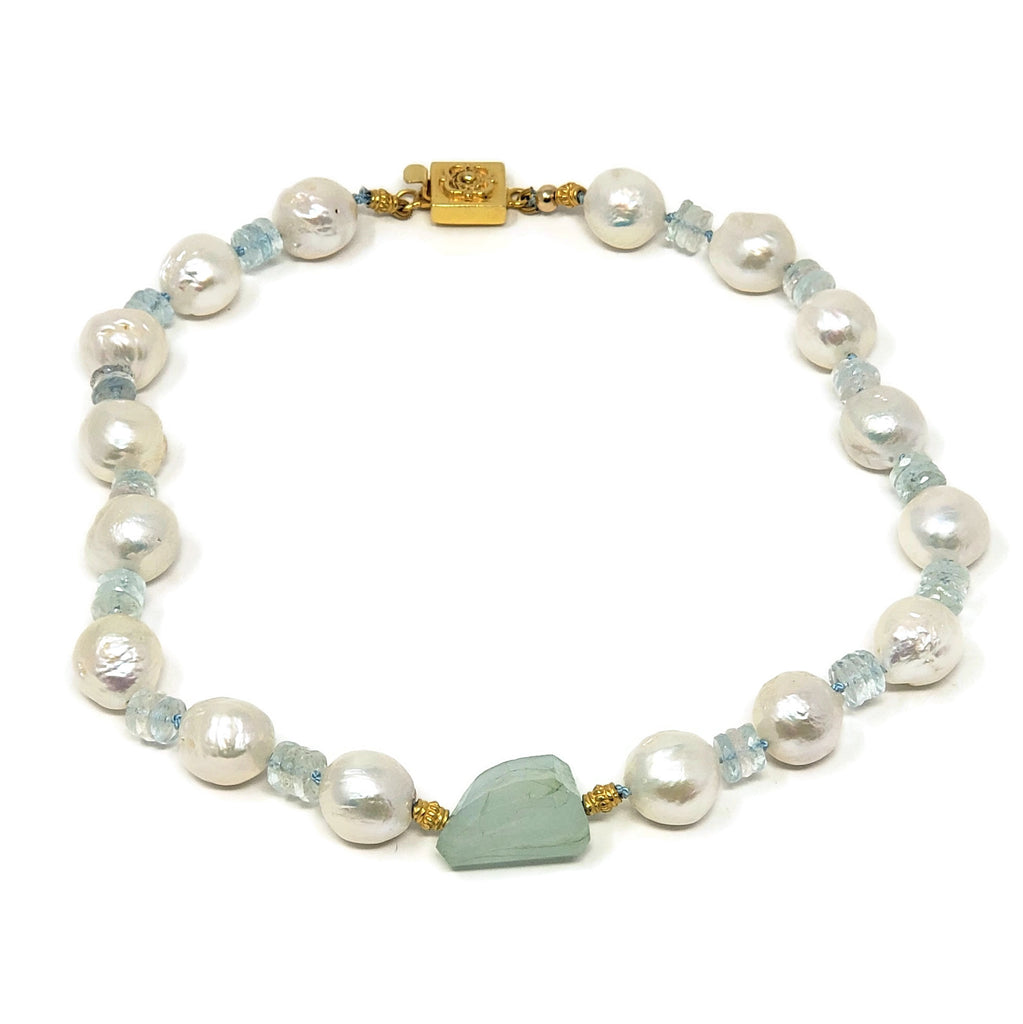 Baroque Pearl & Aquamarine Necklace